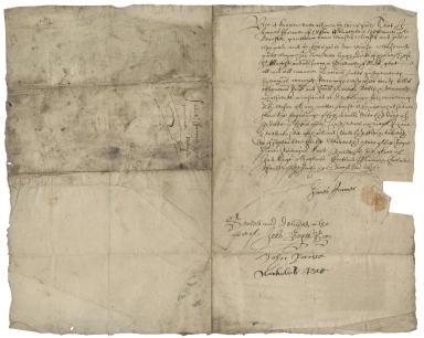 Quitclaim from James Farmer of Aston Flamville, Leicestershire, to Hugh Kirke of St. Mary Strand
