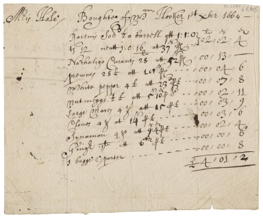Receipted bill for spices and dried fruits, purchased by Mrs. Hale from William Hooker