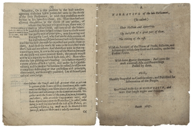 A narrative of the late Parliament (so called) ... 1657