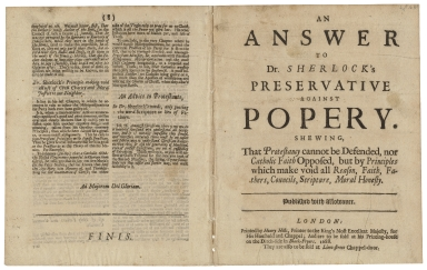 Sabran, Lewis, 1652-1732. An answer to Dr. Sherlock's preservative against popery. Shewing, that Protestancy cannot be defended, nor Catholic faith opposed, but by principles which make void all reason, faith, fathers, councils, scripture, moral honesty 1688
