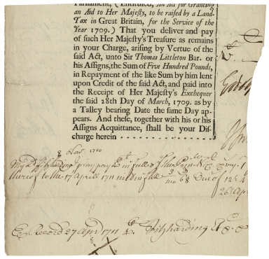 Authorization of payment by John Poulett, Earl Poulett, from the Exchequer