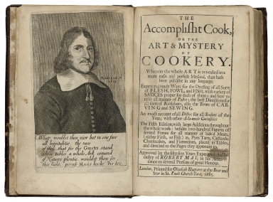 The accomplisht cook, or The art & mystery of cookery. : Wherein the whole art is revealed in a more easie and perfect method, than hath been publisht in any language. Expert and ready ways for the dressing of all sorts of flesh, fowl, and fish, with variety of sauces proper for each of them; and how to raise all manner of pastes; the best directions for all sorts of kickshaws, also the terms of carving and sewing. An exact account of all dishes for all seasons of the year, with other a-la-mode curiosities The fifth edition, with large additions throughout the whole work: besides two hundred figures of several forms for all manner of bak'd meats, either flesh, or fish) as pyes tarts, custards; cheesecakes, and florentines, placed in tables, and directed to the pages they appertain to. Approved by the fifty five years experience and industry of Robert May, in his attendance on several persons of great honour.
