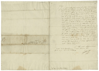 Autograph letter signed from Robert Devereux, Earl of Essex, Lees, to Lettice Blount, Countess of Leicester