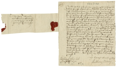 Autograph letter signed from Anthony Drury, Besthorpe, Norfolk, to Framlingham Gawdy, West Harling