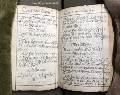 A list of gentlemen and their coats of arms and crests [manuscript], ca. 1677.