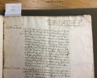 An abstract out of the examinations of those persons that were in the late action of rebellion with the Earl of Essex on February 8, 1600/1 [manuscript], abstracted 1600/1 March 18.