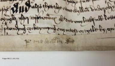 Bargain and sale from William Bott, Elizabeth Bott, and Albone Heton to William Underehyll of Newbold Revel, Warwickshire, Gent [manuscript], 1567 September 1.