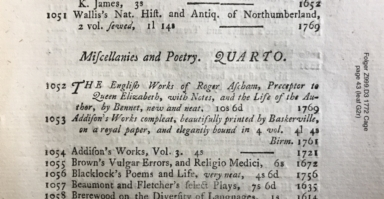 A catalogue of valuable and curious books; ... which will begin to be sold ... by Thomas Davies, in Russel-Street, Covent-Garden, on Saturday the 11th of April 1772, ...