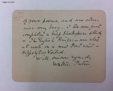 Autograph card signed from Walter Pater, Kensington, London, to Arthur Symons, Buckingham [manuscript], 1888 December 29.