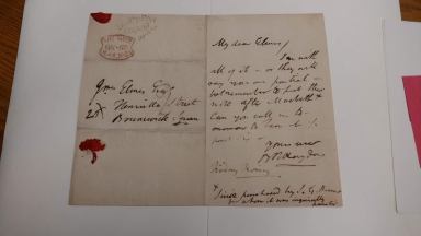 Autograph letters signed from Benjamin Robert Haydon to various recipients [manuscript], 1814-1825.