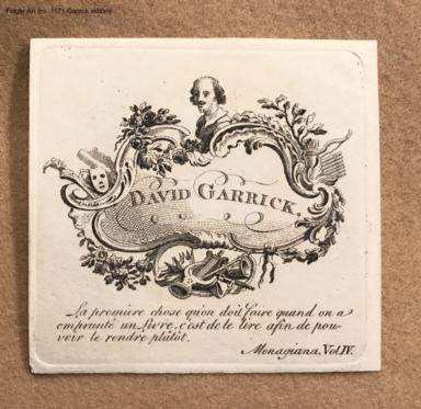 [David Garrick's bookplate].