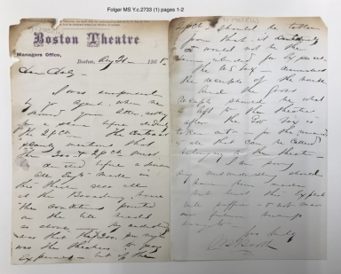 Autograph letters signed from Junius Brutus Booth to Augustin Daly [manuscript], 1868-1875?