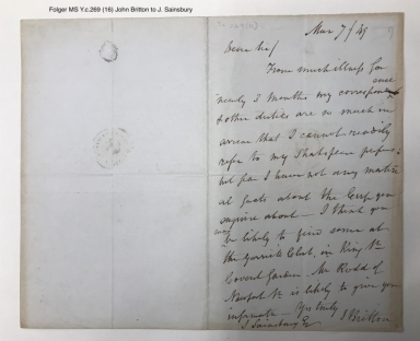Autograph letters signed from John Britton to various people [manuscript], 1812-1854.