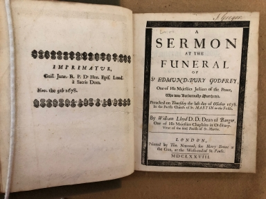 A sermon at the funeral of Sr Edmund-Bury Godfrey, one of His Majesties justices of the peace, who was barbarously murthered. : Preached on Thursday the last day of October 1678. In the parish church of St. Martin in the Fields. By William Lloyd D.D. Dean of Bangor, one of His Majesties chaplains in ordinary. Vicar of the said parish of St. Martin.
