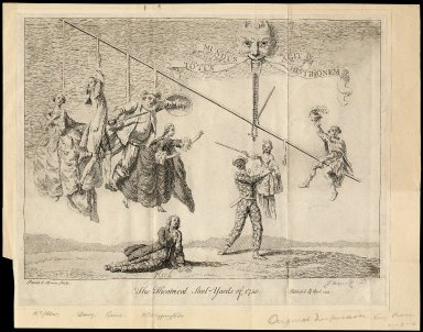 The theatrical steel-yards of 1750 [graphic] / Patrick O Brian sculp.