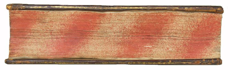 Fore-edge striated and speckled edge decoration and with indistinct gold tooling of board edge, DG975.V5 T5 1592 Cage.