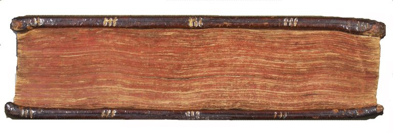 Fore-edge colored in red and board edge tooling, single blind line bisected with a triple gilt line tool, STC 22553 copy 3.