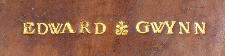 """Detail of name tooled in 28 point type, the """"Y"""" in 30 pt. type, STC 25317."""