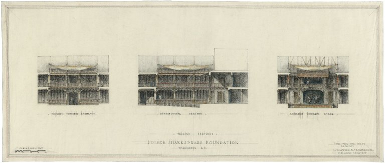 Scale drawing of Theatre Sections - Folger Shakespeare Foundation