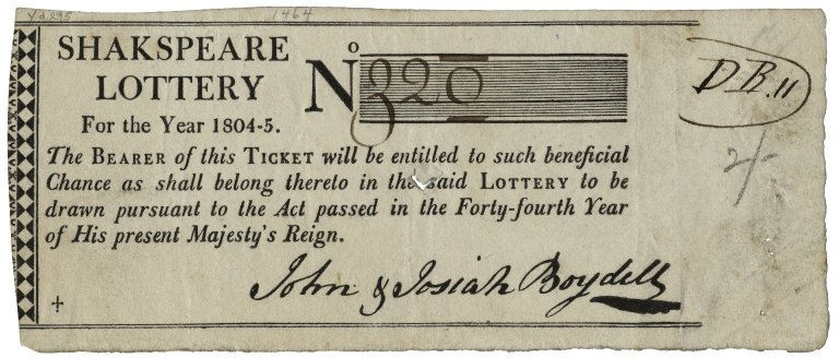 Ticket to his Shakespeare lottery