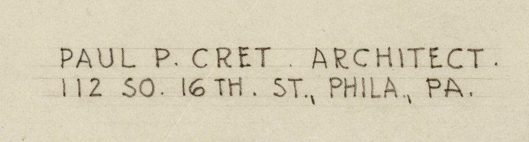 detail of Paul Cret's name