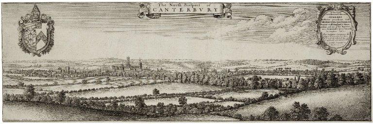 The north prospect of Canterbury [graphic] / Tho. Iohnson delineavit ; W. Hollar fecit.