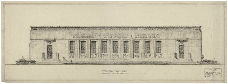 "Architectural Drawing of Proposed Elevation: E. Capitol St. Facade, Preliminary Eighth Inch Scale Study, by WHL; no.1. 38""x13.5""."