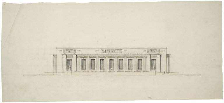 "Architectural Drawing of Proposed Elevation: [E. Capitol St. Elevation], 28.5""x13"" , 3 rectangular bas-reliefs along top."