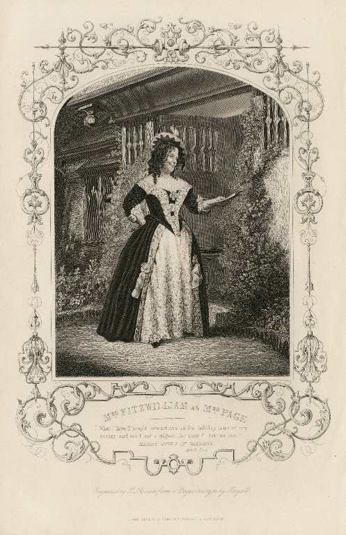 Mrs. Fitzwilliam as Mrs. Page ... [in Shakespeare's Merry wives of Windsor] [graphic] / engraved by T. Sherratt ; from a daguerreotype by Mayall.