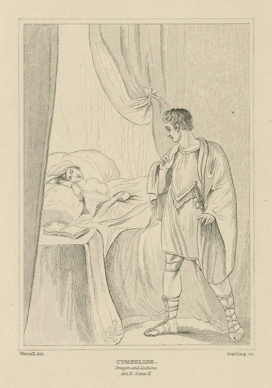 Cymbeline, act 2, scene 2, a bedchamber, Imogen in bed, Jachimo [graphic] / painted by R. Westall R.A. ; engraved by James Stow.