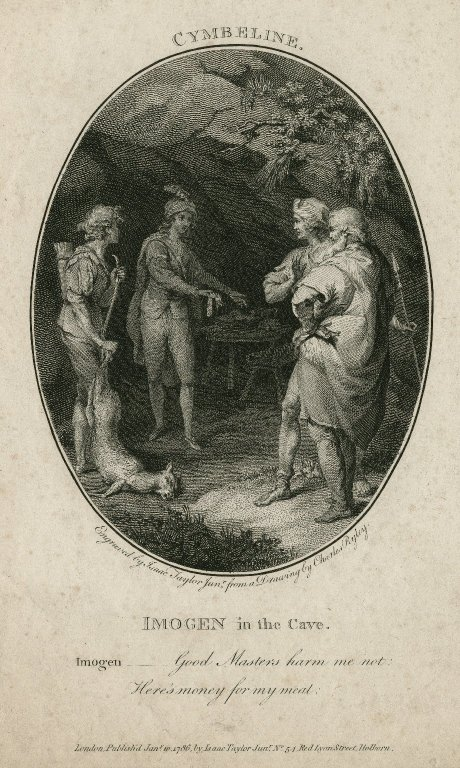 Cymbeline, Imogen in the cave ... [act III, sc. 6] Harm me not: here's money for my meat [graphic] / engraved by Isaac Taylor Junr. ; from a drawing by Charles Ryley.