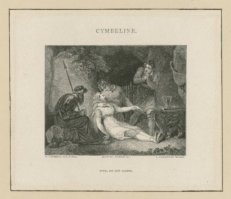 Cymbeline, act IV, scene II, Why, he but sleeps [graphic] / H. Thomson, R.A. pinx. ; J. Thompson, sculp.
