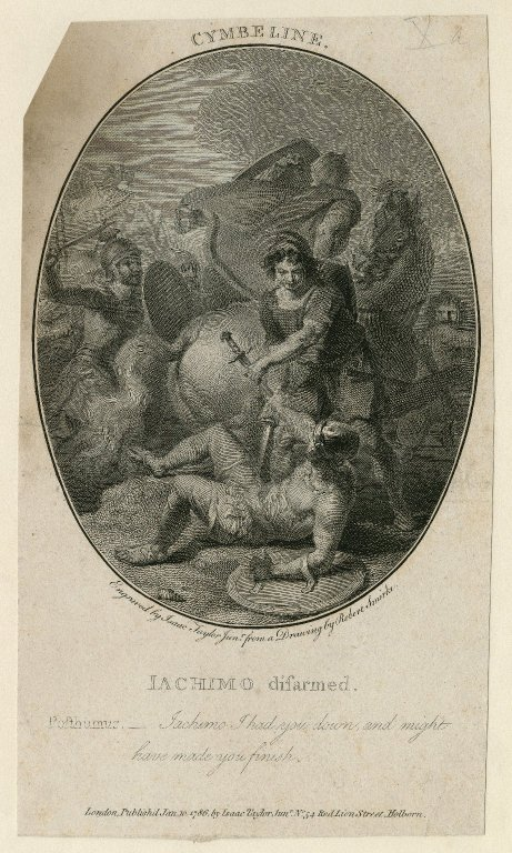Cymbeline, Iachimo disarmed: I had you down and might have made you finish, [act V, scene 2] [graphic] / engraved by Isaac Taylor Junr. ; from a drawing by Robert Smirke.