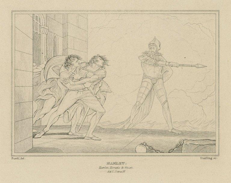 Hamlet ... Horatio & Ghost, act I, scene IV [graphic] / [Henry] Fuseli, del. ; [William Francis] Starling, sc.