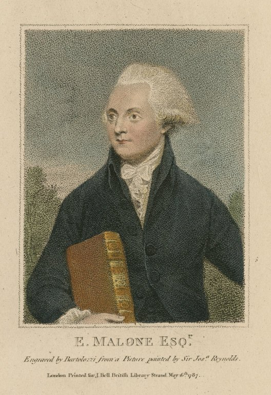 E. Malone esqr. [graphic] / engraved by Bartolozzi from a picture painted by Sir Josa. Reynolds.
