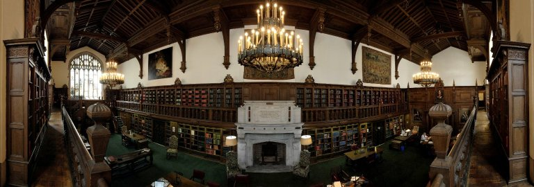 Panorama of the Folger Shakespeare Library Old Reading Room looking north