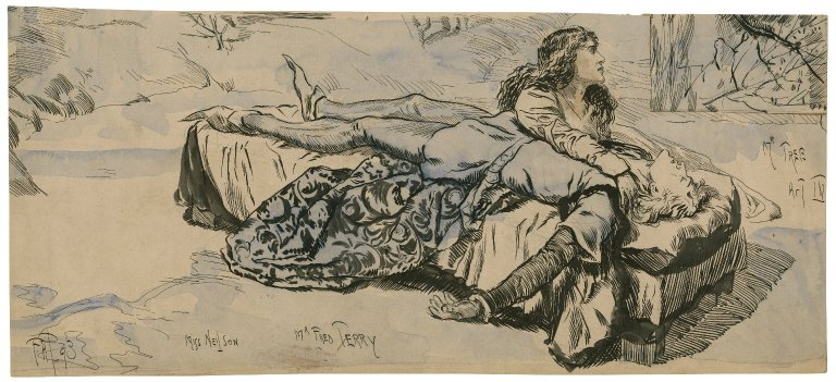 Romeo and Juliet, V, 3, Tomb scene, Mr. Fred Tree [i.e. Terry] as Romeo, Miss Neilson as Juliet [graphic] / [Frederick Henry Townsend].