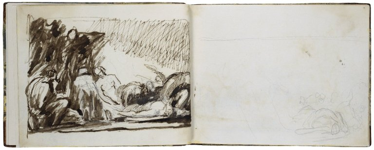 1v: John Howard Visiting a Priso; pen with brown ink and wash over pencil. 2r: Figures from the Prison Scene; pencil.