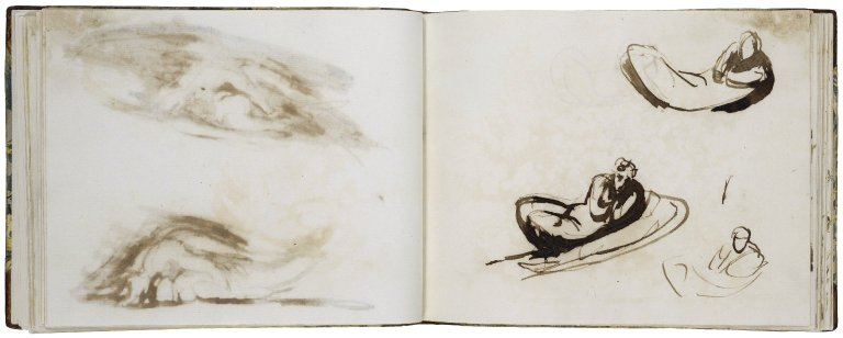 A Midsummer Night's Dream: Reclining figure of Titania, Three Studies; pen with brown ink and wash