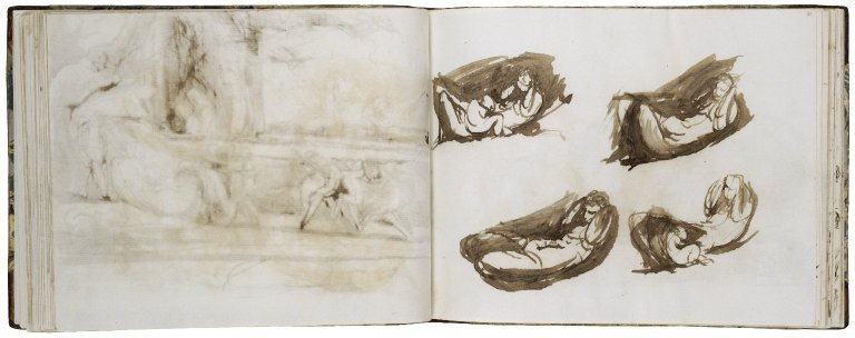 A Misummer Night's Dream: Titania Reclining, Four Studies; pen with brown ink and wash