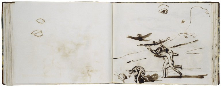 35v: An eye, two slight studies; pen with brown ink; 36r: A Midsummer Night's Dream: Fairies Chasing Bats; at top of page, a large eye; pen with brown ink and wash.