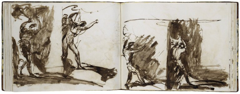 46v: Macbeth: The Cavern Scene, Two Studies of Macbeth; pen with brown ink and wash. 47r: Macbeth: Cavern Scene, Two Studies of Macbeth; pen with brown ink and wash.