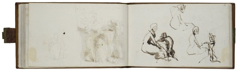 Seated Woman with Standing Child: Three Studies; pen with brown ink and wash