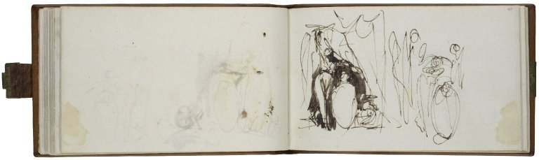 A Midsummer Night's Dream: Titania and her Fairies, two studies; pen with brown ink and wash
