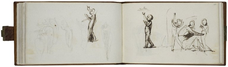 48v: Child, left profile, arms upraised; pen with brown ink and wash. 49r: To the left: Child reaching for Bats in the Sky; To the right: Child reaching into the sky, Woman reaching out towards second Child; pen with brown ink and wash