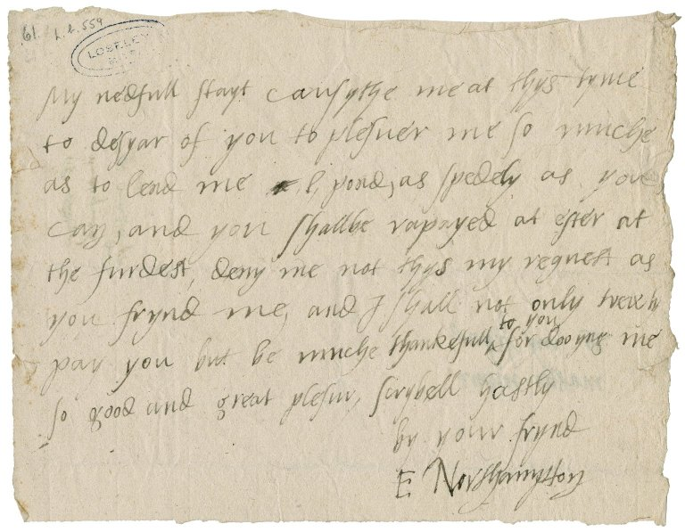 Northampton, Elizabeth (Brooke) Parr, Marchioness of. Autograph letter signed. To William More.
