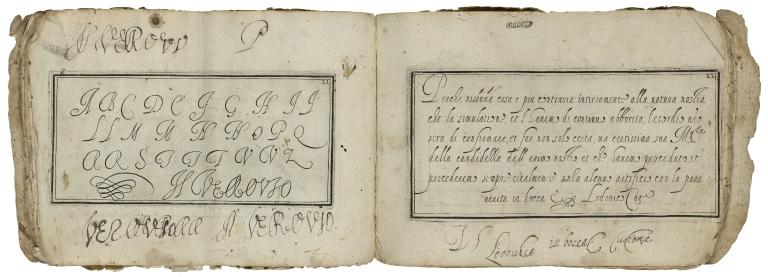 Scelta di caratteri di lettere moderne scritte / da Lodouico Curione et Simone Verouio scrittori eccell.mi in Roma.