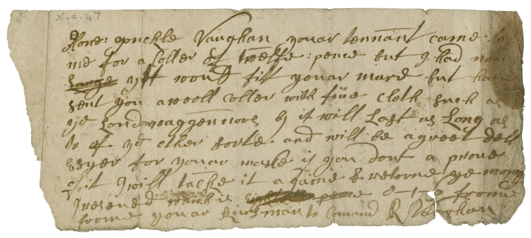 Autograph letter signed from R. Vaughan to Mrs. Vaughan, his kinswoman