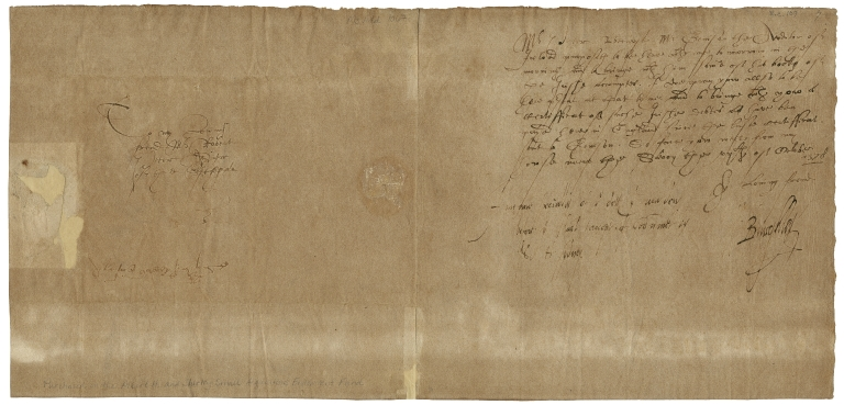 Letter signed from William Cecil to Robert Petre