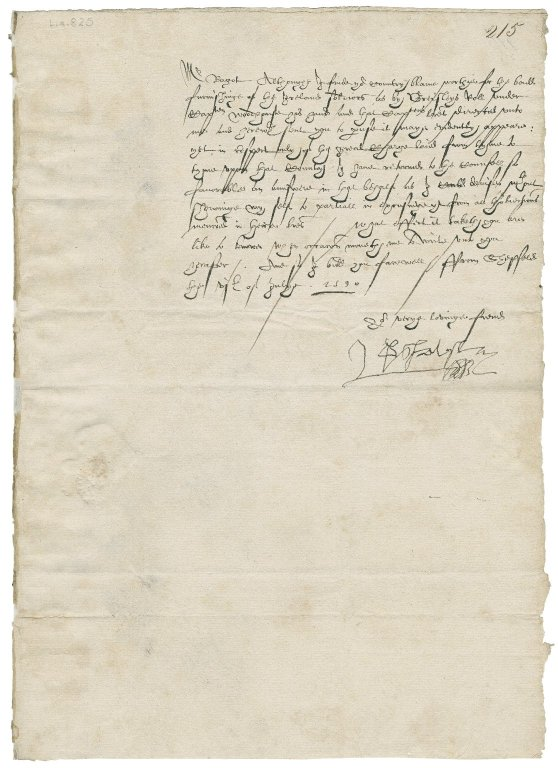 Letter from George Talbot, Earl of Shrewsbury, Sheffield, to Richard Bagot